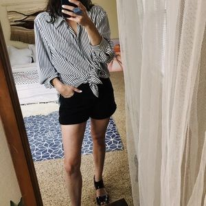 Tops - Black and white striped oversized button down top